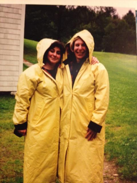 Barbara Sherman (l) and Susan Nisbett (r) at Kinhaven in 1998, the year of epic rain.