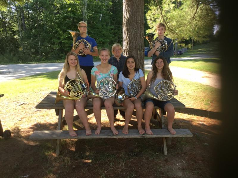 Carolyn Wahl and her Horn Students, Kinhaven 2016